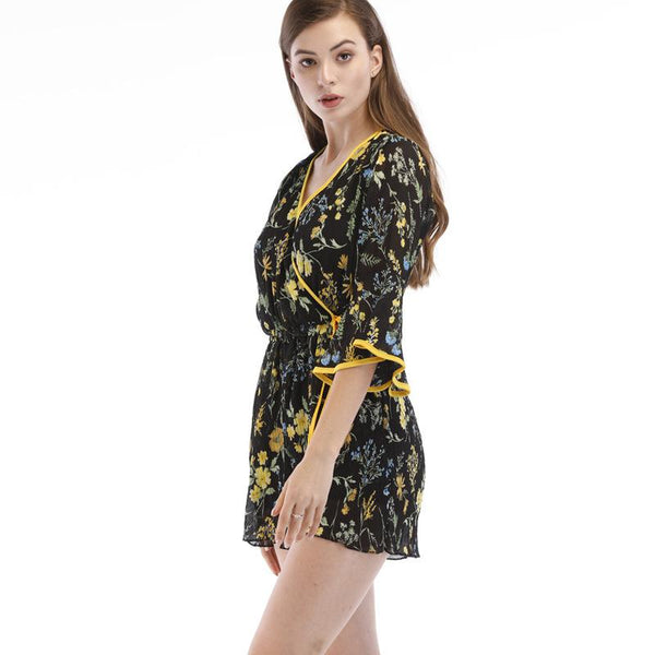 Stall Women European And American Loose Short-sleeved Floral Chiffon Jumpsuit Female High-waisted Thin Wide-leg Shorts