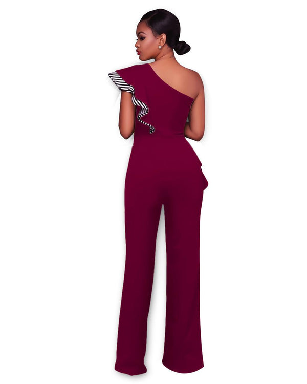 Cross-border European And American Strapless One-piece Slant Collar Sexy One-shoulder Solid Color High-waisted Wide-leg Jumpsuit