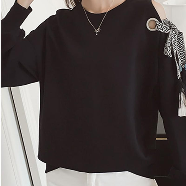 Autumn New Korean Version Of Solid Color Lantern Sleeve Sweater Female Student Long-sleeved Loose Black Blouse Pullover