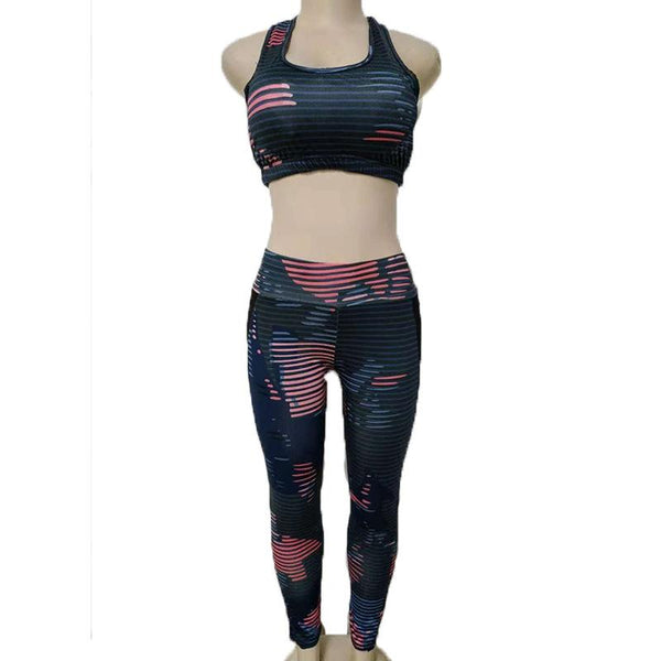 European And American Spring New Printed Sleeveless Vest Tight Sports Suit Women