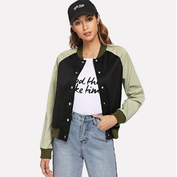 Women Winter New Student Color Matching Casual Jacket Japanese Fashion Brand Embroidery Stand-up Collar Baseball Uniform Women