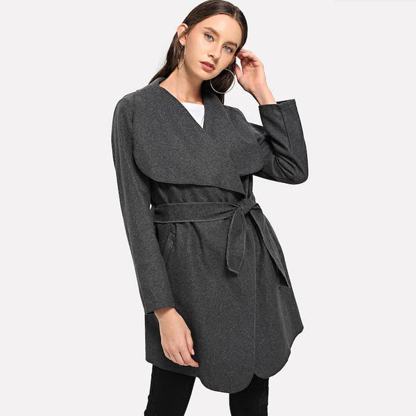 Cross-border Foreign Trade Women Spring Style Temperament Long-sleeved Mid-length Waist Windbreaker Suit Collar No Button Coat In Stock