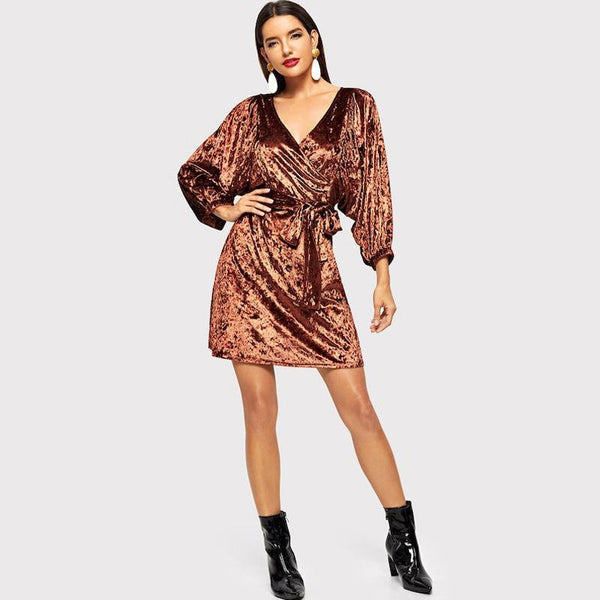 Autumn And Winter European And American Style Deep V-neck Noble Gold Velvet Slim Dress Mid Skirt Long Sleeves