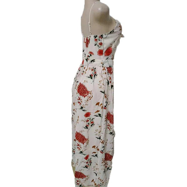 European And American Cross-border Women Split Beach Long Skirt Printed Dress New