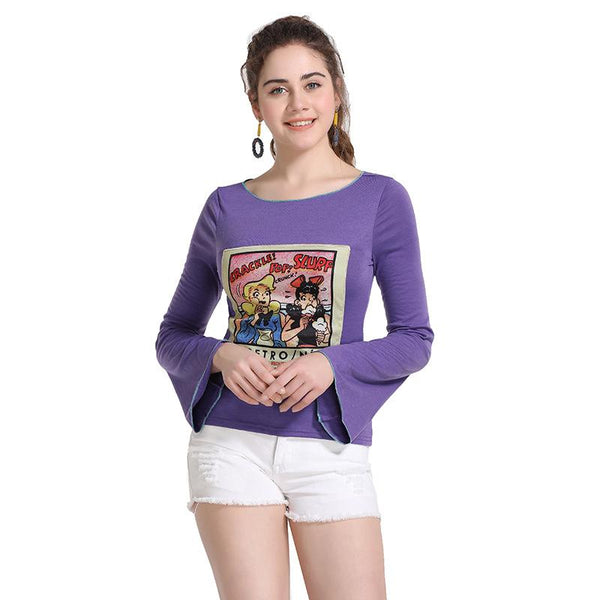 Booth Spring New Cartoon Pattern Round Neck Trumpet Sleeve Casual Jacket Women Spring And Autumn