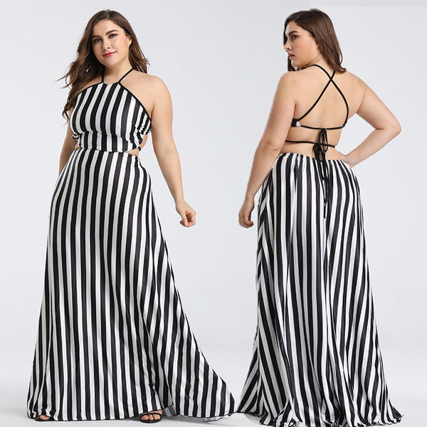 Plus Size Women Halter Neck Striped Dress With A Thin Waist And Beach Skirt Europe And America