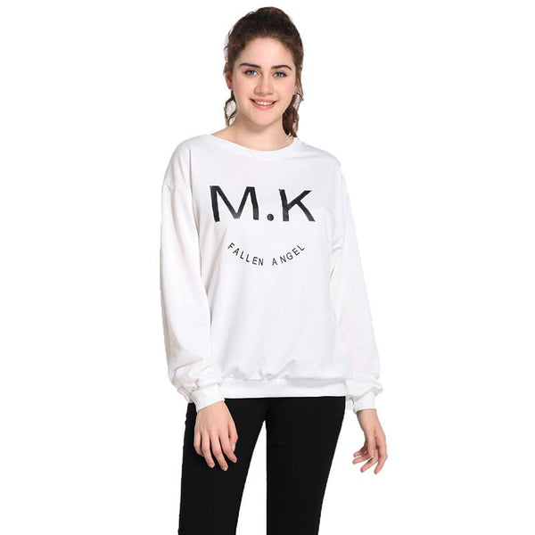 Cross-border European And American Women Autumn And Winter Loose Long-sleeved Sweater English Alphabet T-shirt Top Women