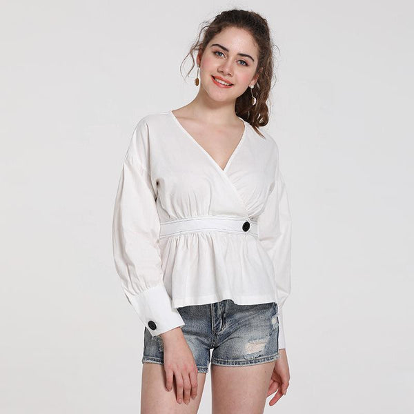 Early Spring New Style European And American Style Women Shirt V-neck Fashion Hit Color Collection Line Waist Long-sleeved Versatile Blouse