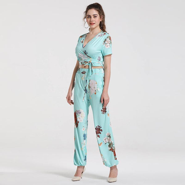 Women V-neck Ocean Printed Top Lace-up Wrapped Pants Thin Stretch Waist Long Two-piece Suit