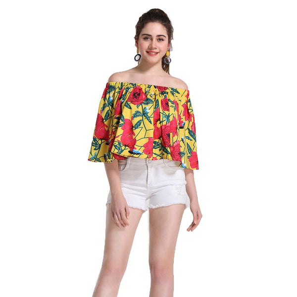 European And American Women& Ethnic Style Tops One-shoulder Off-the-shoulder Tops Summer Short-sleeved Women Loose