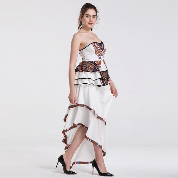 Summer Cross-border New European And American Sexy Women Print Irregular Skirt Tube Top Two-piece Set