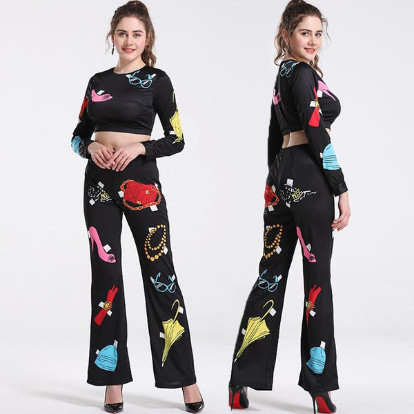 Cross-border New European And American Women Sexy Umbilical Cartoon Print Two-piece Trouser Suit