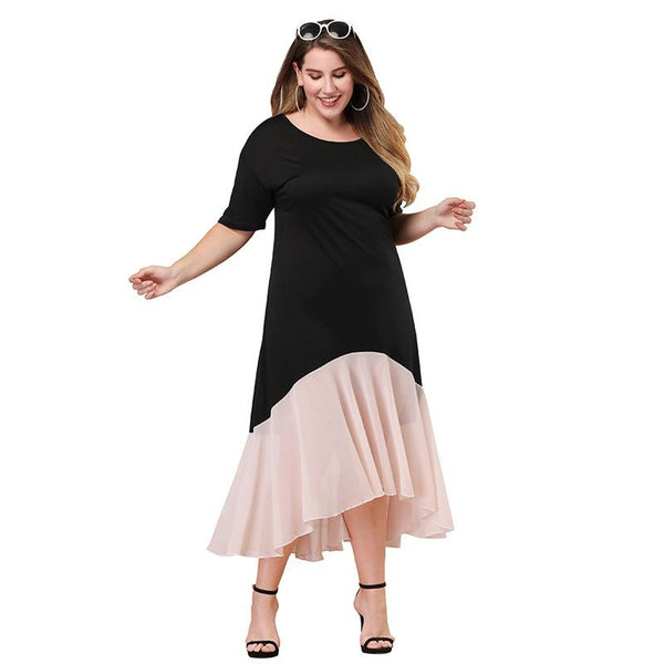 European And American Women Dress Round Neck Short Sleeve Pleated Irregular Long Skirt Large Size Mid-length Skirt