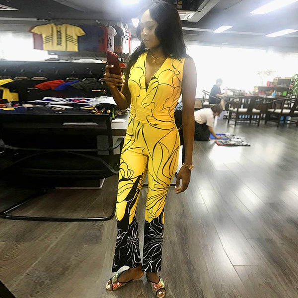 European And American New Women Jumpsuit Slim And Thin Sexy Deep V Sleeveless Jumpsuit