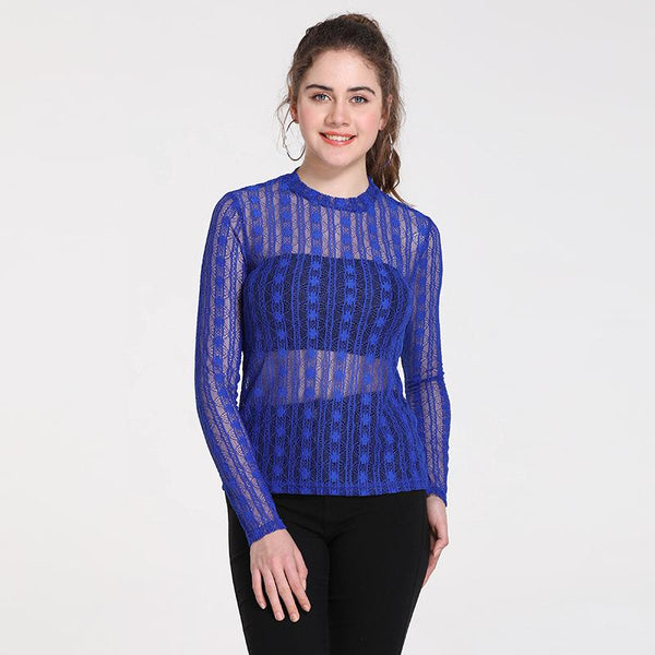 European And American Cross-border Women Solid Color See-through Hedging Outer Long-sleeved Top Dress Women