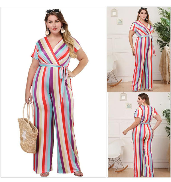 Cross-border Generation Summer New Plus Size Women Short-sleeved V-neck Casual Striped Jumpsuit Trousers