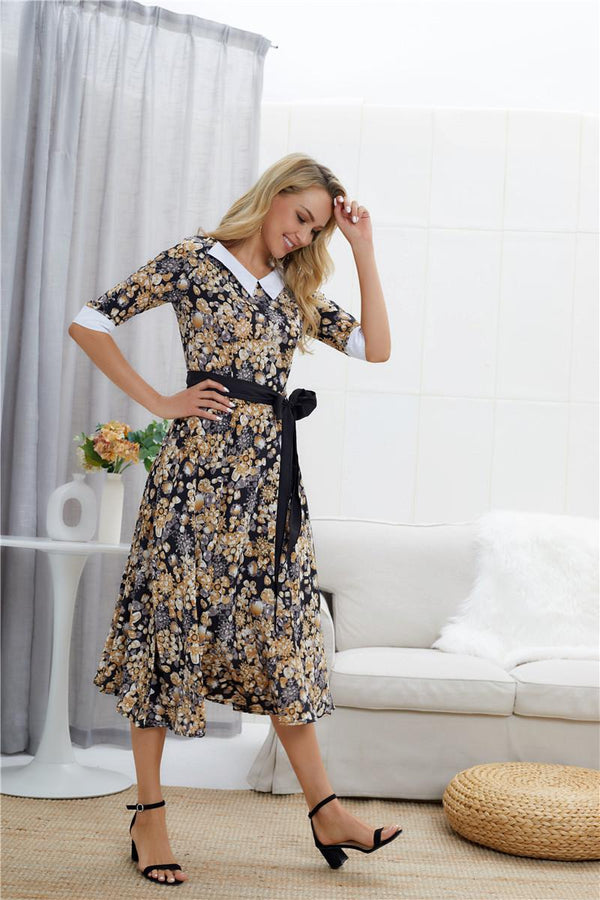 Hot Sale European And American Retro Lapel Three-quarter Sleeve Printed Waistband Slim Dress