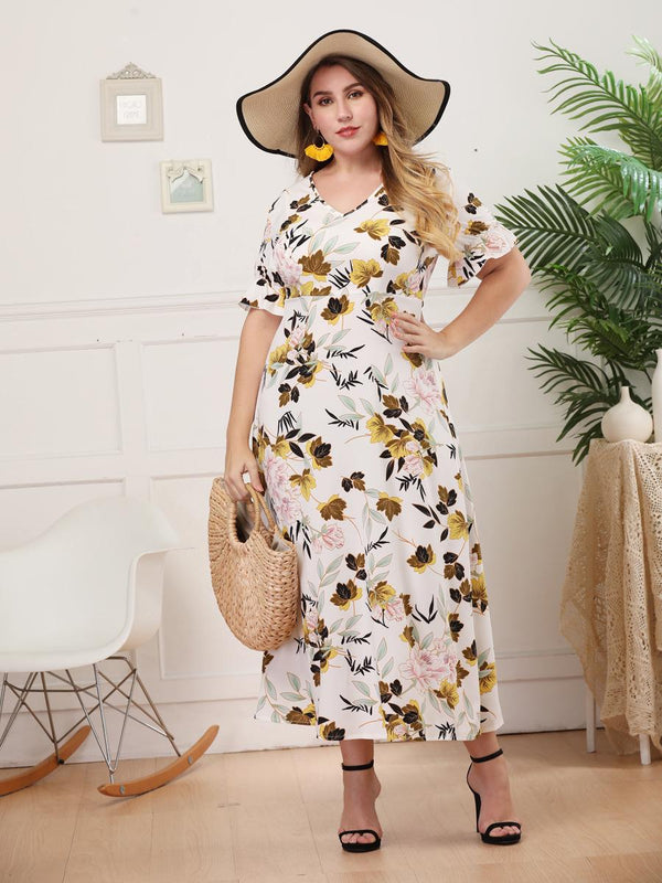 European And American Women V-neck Short-sleeved Slim Printed Dress Long Skirt Women