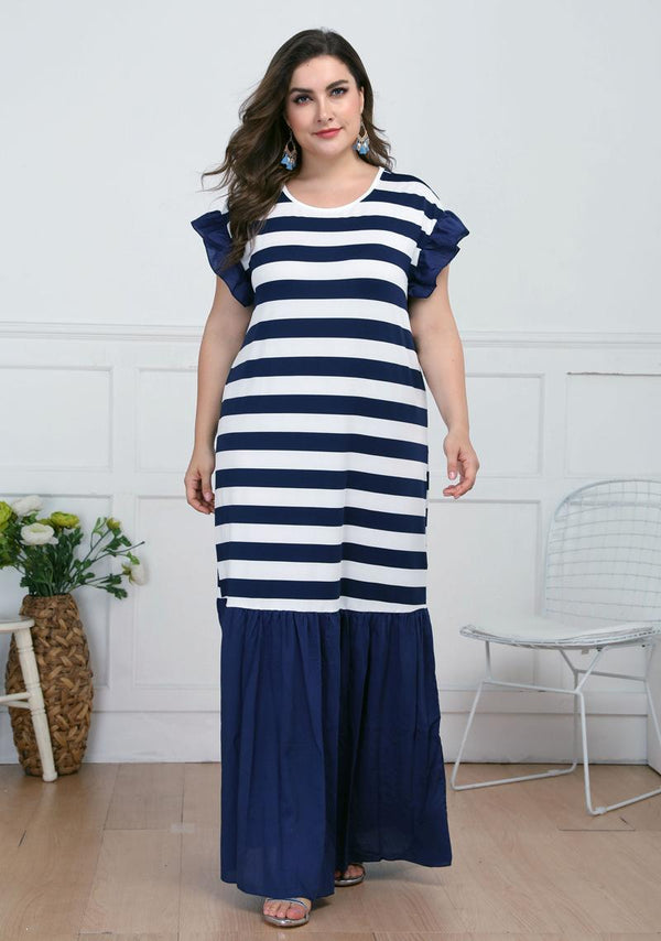 Plus Size Women Loose Ruffled Short Sleeves Slim Casual Striped Long Dress