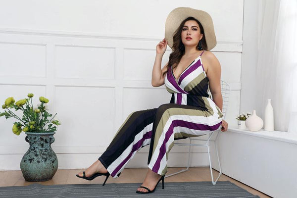 Hot Sale Large Size Women Deep V Sexy Sling Striped Slim Jumpsuit Casual Pants