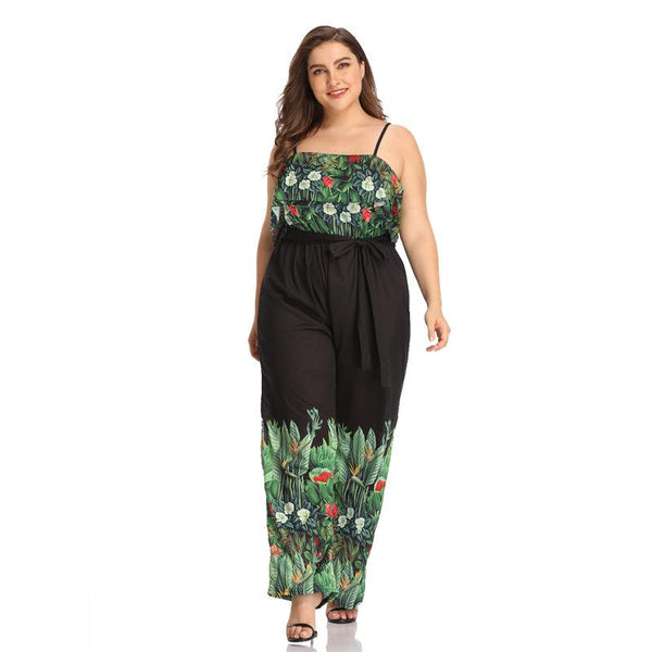 European And American Women Printed Sling Waist Straps Plus Size Women Wide-leg Trousers Jumpsuit