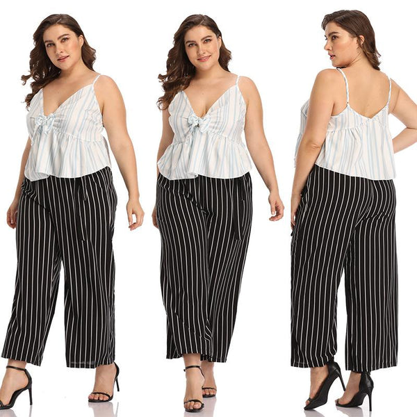 European And American Women Sexy Deep V Sling Striped T-shirt Vest Short Top Plus Size Women Clothing