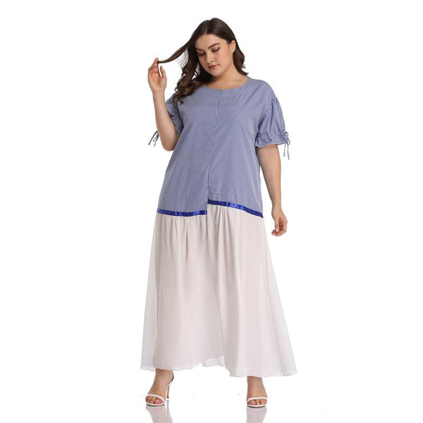 European And American Plus Size Women Irregular Striped Stitching Mesh Dress With Large Swing Skirt