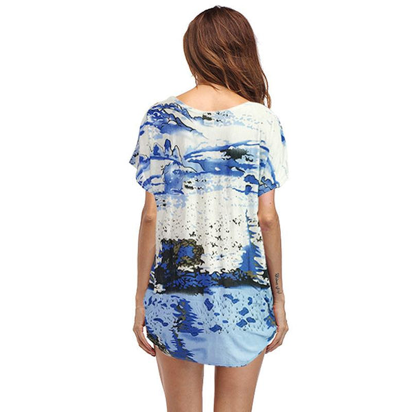 European And American Cross-border New Casual Women T-shirt Fat Mm Ice Silk Printing Loose Round Neck Top T-shirt Women