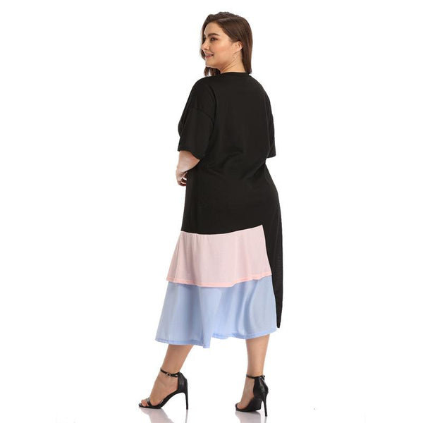 Plus Size Women Round Neck Stitching Contrast Color Long Skirt Temperament Casual Dress