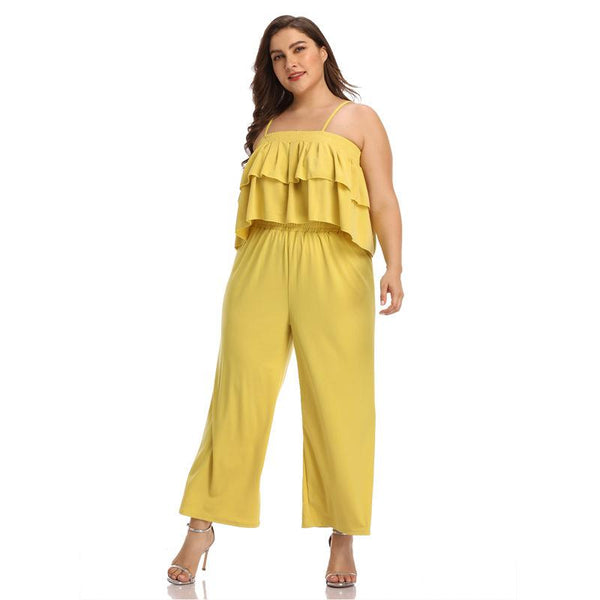 European And American Women Large Size Solid Color Sling Short Blouse Wide Leg Trousers Women
