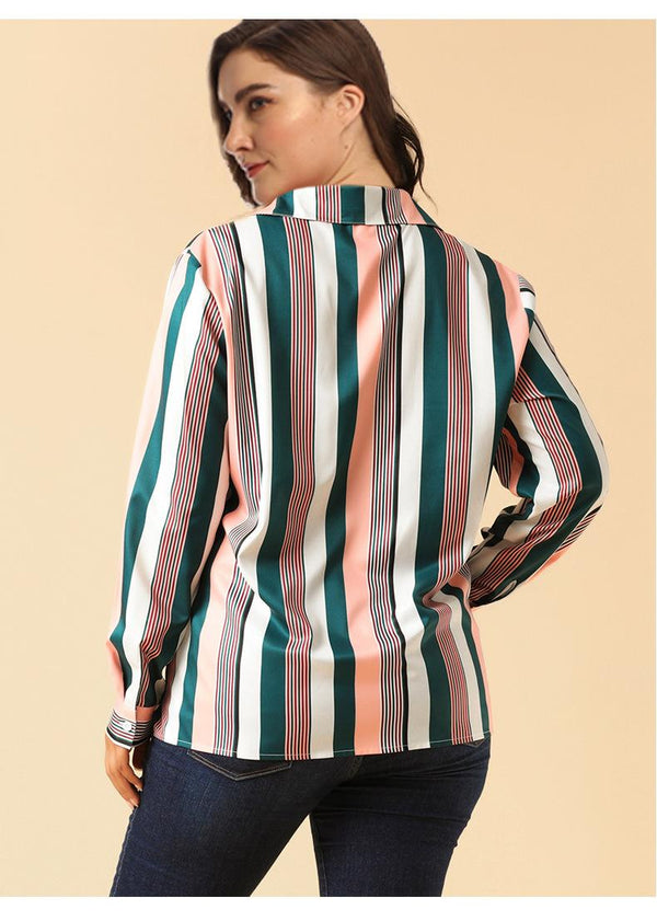 Women Large Size 2019 New Product European And American Striped Contrasting Top Temperament Professional Long Sleeve Shirt
