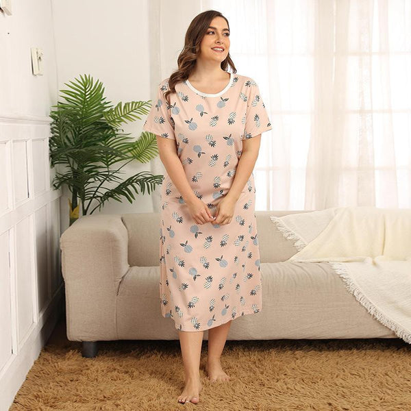 Nightdress Loose Mid-length Pajamas Summer Short-sleeved Plus Size Home Service