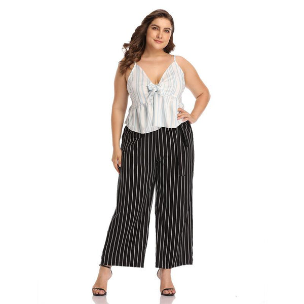 Europe And America Plus Size Women Striped Tie Waist Temperament Casual Trousers