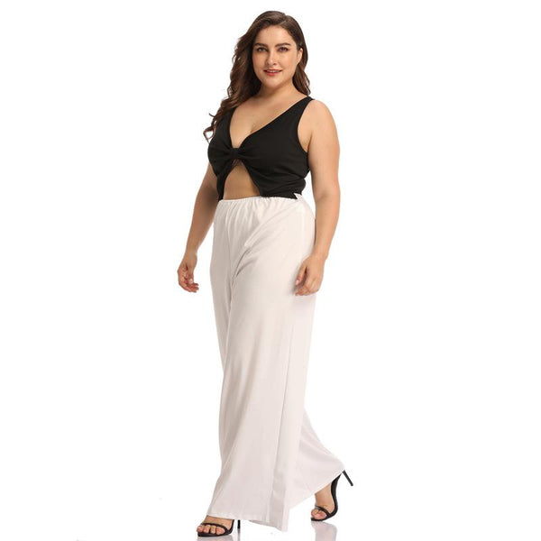 European And American Women's Sexy Top Casual Wide-leg Trousers Plus Size Suit