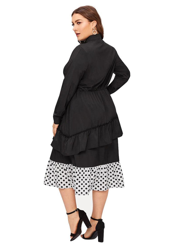Autumn New European And American Large Size Women Round Neck Stitching Contrast Color Polka Dot Long Skirt Temperament Casual Dress