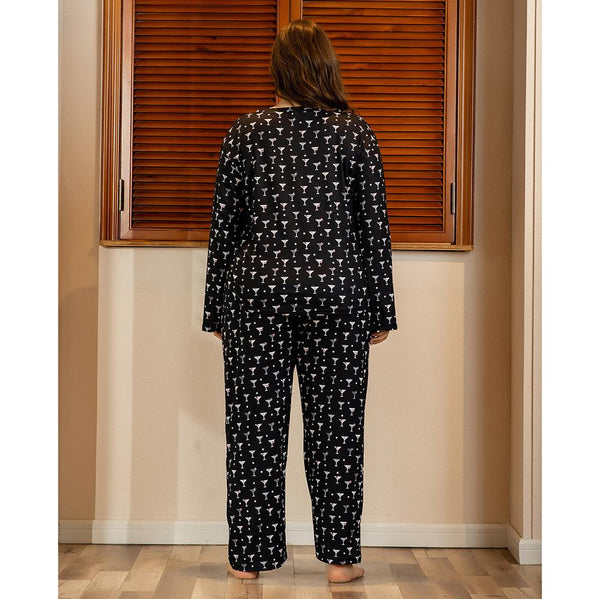 Plus Size WomenSpring And Summer Home Service Two-piece Suit Printing Comfortable Loose Long-sleeved Trousers