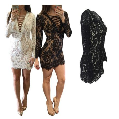 European And American Plus Size Women 2019 V-neck Long-sleeved Lace Hollow Dress Women