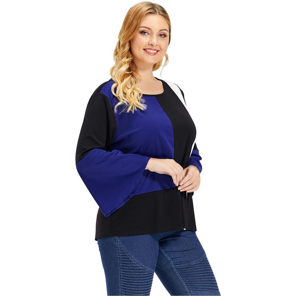 Large Size Women Cross-border Printing Black And White Blue Contrast Long-sleeved T-shirt Hot Wholesale