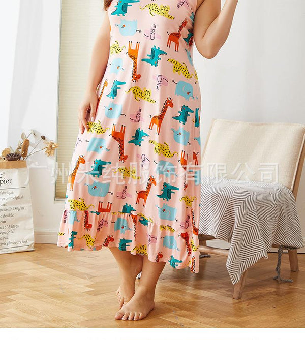 Summer Short-sleeved Floral Casual Large Size Loose Mid-length Bottoming Home Service Dress