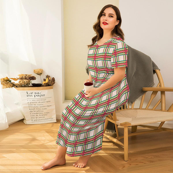 Europe And America Flowers Comfortable Loose Long Skirt Sexy Printed Short-sleeved Dress Home Wear Pajamas