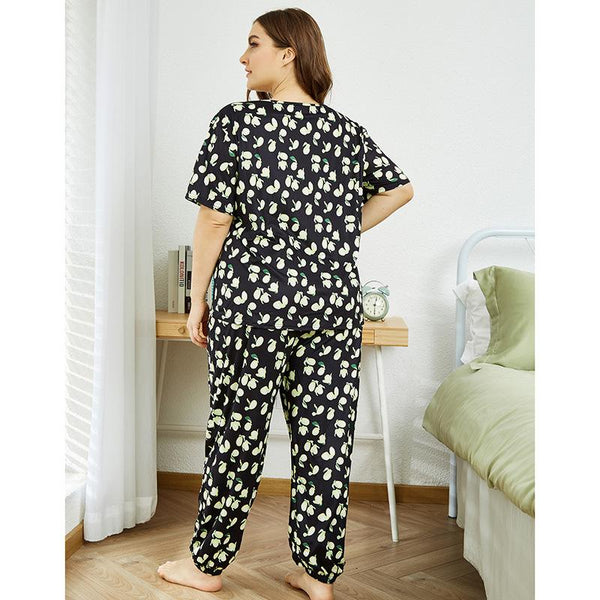 Europe And America 2020 New Ladies Homewear Two-piece Summer Printed Short Sleeve Long Sleeve Pajamas