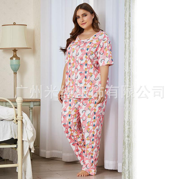 Europe And America 2020 New Ladies Homewear Two-piece Summer Amazon Printed Short Sleeve Long Sleeve Pajamas