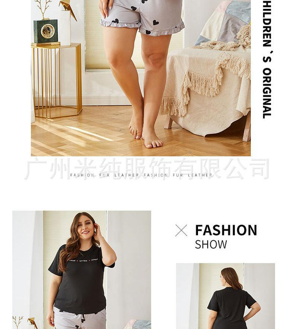 New Summer Casual Short-sleeved Amazon Pajamas Suit Thin Section European And American Ladies Home Service