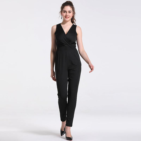 Summer New Sexy V-neck Sleeveless Slim Women High-waisted Jumpsuit Feet Trousers Stovepipe