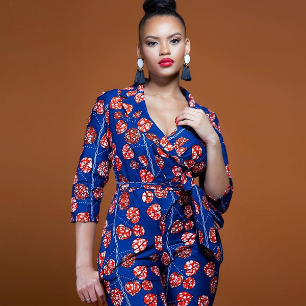 European And American Deep V-neck Low-cut Sexy Three-quarter Sleeves Jumpsuit With Printed Waist And Thin Women Clothing