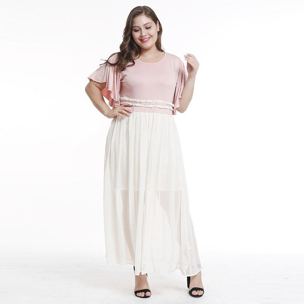 Hot Sale Summer European And American Women Sweet Wind Stitching Dress Large Size Elegant Long Skirt