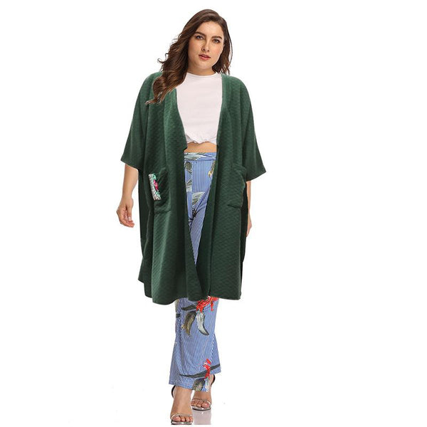 Plus Size Women European And American Fashion Half Sleeve Plant Pattern Coat Temperament Mid-length Coat Women