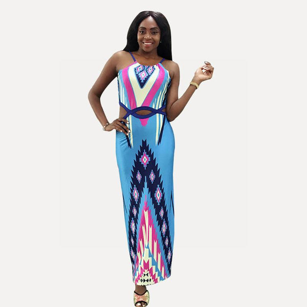 Women Summer Print Hanging Neck And Navel Sexy Slim Slimming Long Skirt