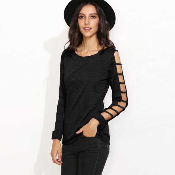 Women Clothing Wholesale Network 2019 New Round Neck Long-sleeved T-shirt