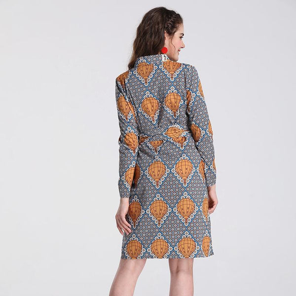 Ethnic Print Waist Tie Dress Long Sleeve European And American Women Irregular Long Skirt